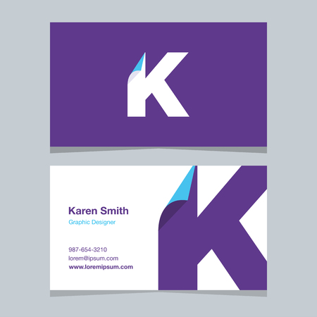 alphabet letter K, with business card template. Vector graphic design elements for company . 向量圖像