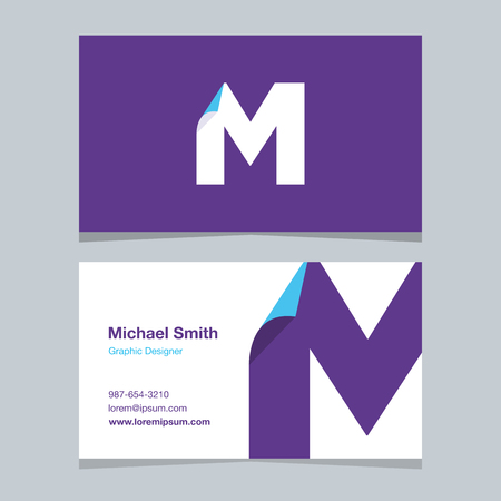 alphabet letter M, with business card template. Vector graphic design elements for company .