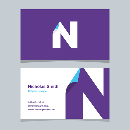 alphabet letter N, with business card template. Vector graphic design elements for company .