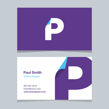 alphabet letter P, with business card template. Vector graphic design elements for company .
