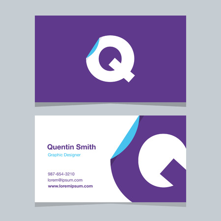 Alphabet letter Q , with business card template. Vector graphic elements design for company .