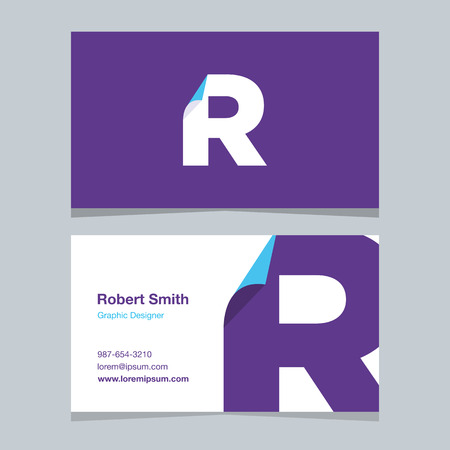 alphabet letter R, with business card template. Vector graphic design elements for company . 向量圖像