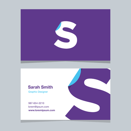 alphabet letter S, with business card template. Vector graphic design elements for company .