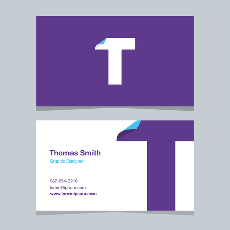 alphabet letter T, with business card template. Vector graphic design elements for company .