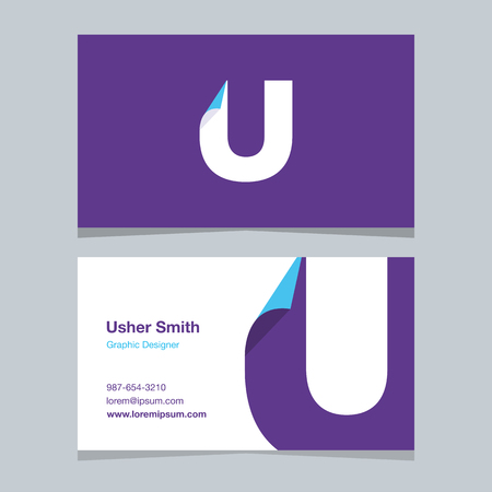 Alphabet letter U , with business card template. Vector graphic elements design for company . 向量圖像