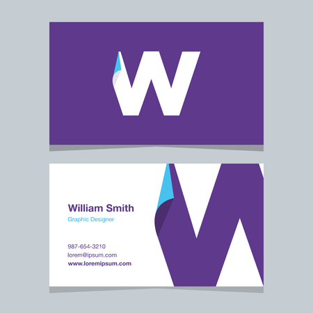 alphabet letter W, with business card template. Vector graphic design elements for company .