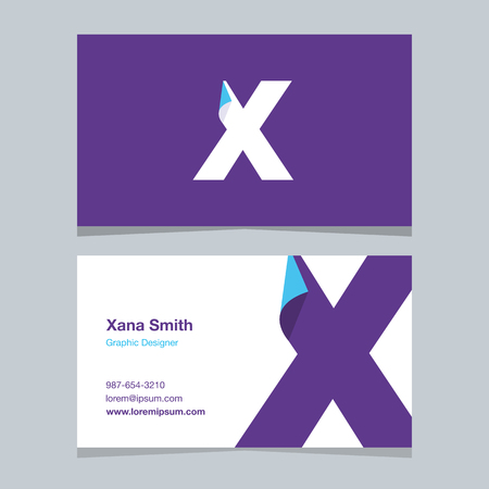 alphabet letter X, with business card template. Vector graphic design elements for company .