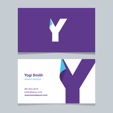alphabet letter Y, with business card template. Vector graphic design elements for company .