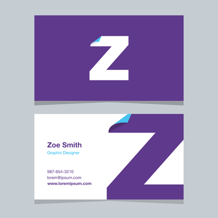 alphabet letter Z, with business card template. Vector graphic design elements for company .