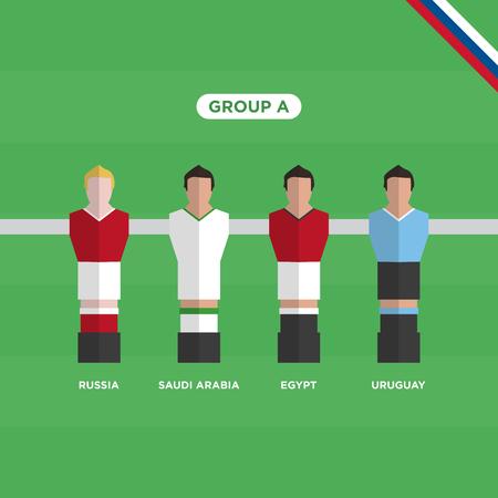 Football Table (Soccer) players, group A. Editable vector design. Illustration