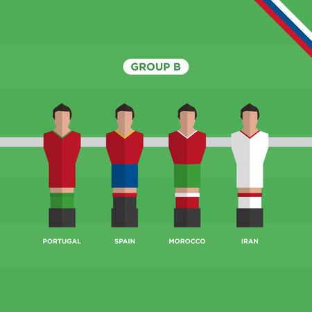 Soccer Table (Soccer) players,     group B. Editable vector design.