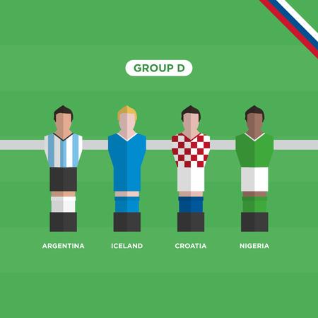 Football Table (Soccer) players,   group D. Editable vector design.
