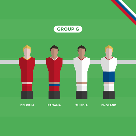 Football Table (Soccer) players,   group G. Editable vector design.