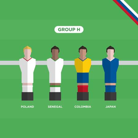 Football Table (Soccer) players, roup H. Editable vector design. Illustration
