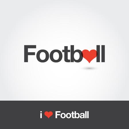 Football with heart  . Editable vector  design.