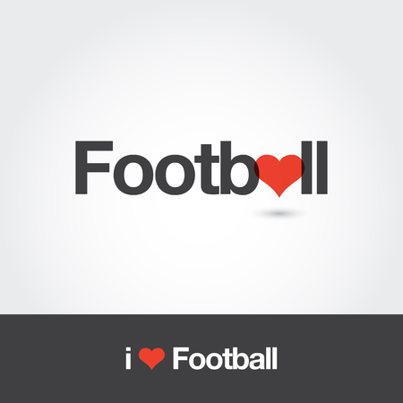 Football with heart  . Editable vector  design. Standard-Bild - 102342774