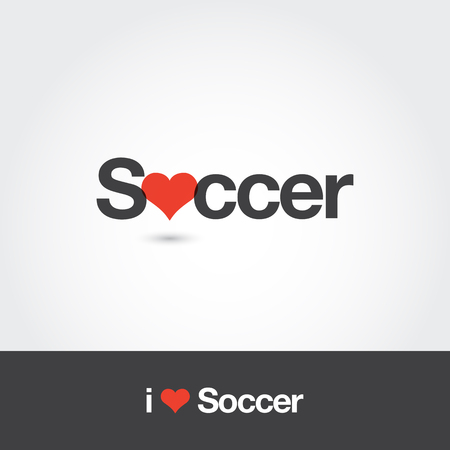 Soccer with heart logo. Editable vector logo design.
