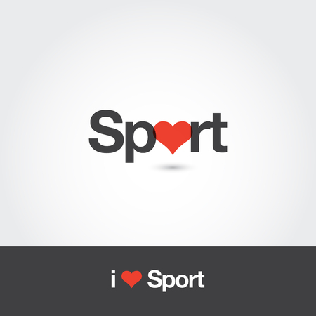 Sport with heart logo. Editable vector logo design. Illustration