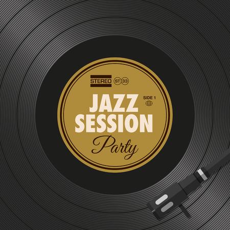 Poster, jazz party flyer, vinyl style. Editable vector design. Illustration