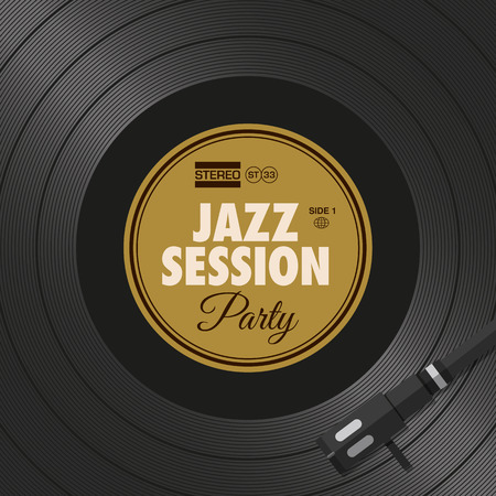 Poster, jazz party flyer, vinyl style. Editable vector design. 向量圖像