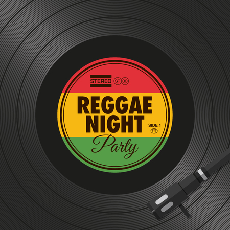 Poster, reggae night party flyer, vinyl style. Editable vector design.