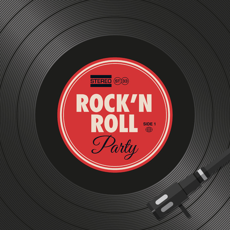 Poster, rock and roll party flyer, vinyl style. Editable vector design. 向量圖像