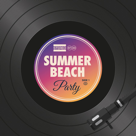 Poster, summer beach party flyer, vinyl style. Editable vector design.