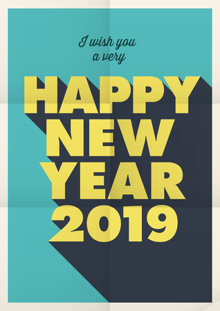 Happy new year 2019 card, poster folded.