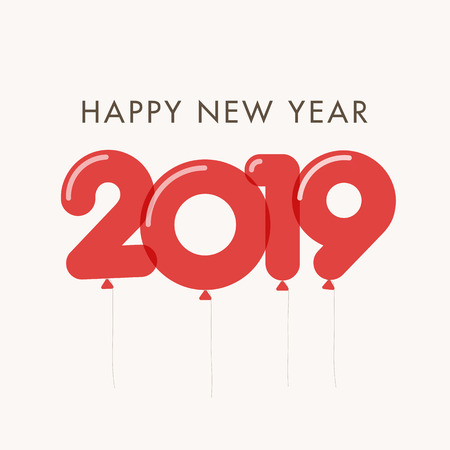 Happy new year 2019 card, balloons font