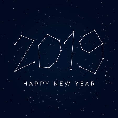 Happy new year 2019 card, constellations of the night sky.