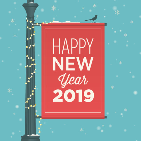 Happy new year 2019 card. Street sign banner. Standard-Bild - 109620325