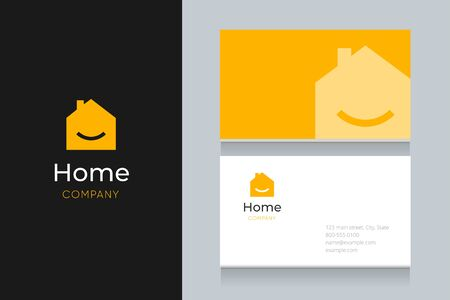 Smile house with business card template. Vector graphic elements design editable for company and entrepreneur. Standard-Bild - 134139620