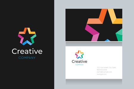 Star with business card template. Vector graphic elements design editable for company and entrepreneur.