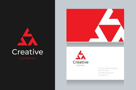 Triangle with business card template. Vector graphic elements design editable for company and entrepreneur. Standard-Bild - 134139662
