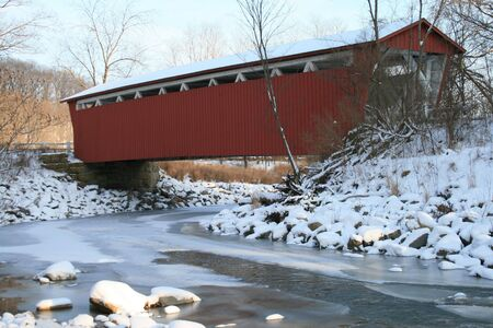 Covered Bridge In Winter Stock Photo - 3016017