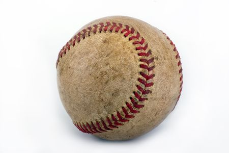 Worn,dirty baseball isolated over a white background photo