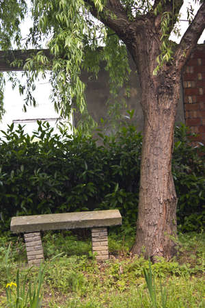 Empty Park Bench in Zhouzhuang Stock Photo