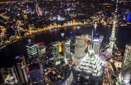 shanghai pudong skyline: Shanghai skyline at night from the top of the World Financial Center Stock Photo