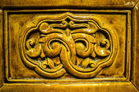 Closeup of decorative tile at Ming Xiaoling Tomb in Nanjing China