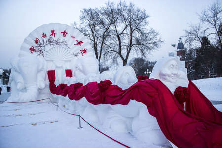 Seven Dwarfs and Elephant Snow Sculptures at the 2012 Harbin Snow and Ice Festival