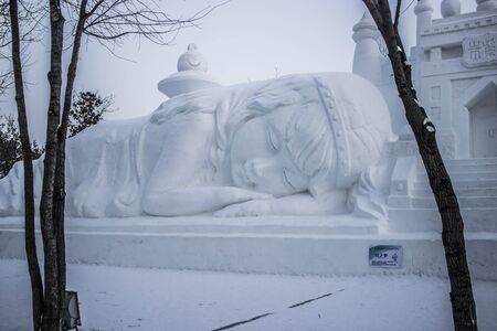 Detailed Snow Sculpture at the 2012 Harbin Snow and Ice Festival