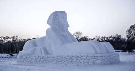 Detailed Snow Sculpture of the Great Sphynx at the 2012 Harbin Snow and Ice Festival