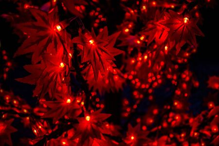 Red Decorative Leaf LED Christmas Lights Stock Photo