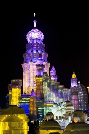 Ice Buildings at the 2013 Snow and Ice Festival in Harbin China Editorial
