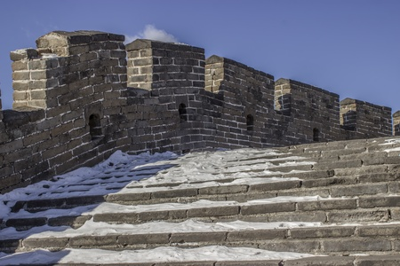 Snow on the Great Wall of China at Mutianyu