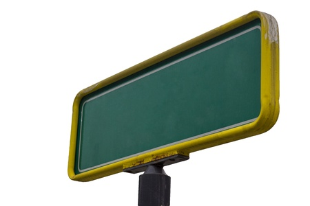 Isolated Image of a Blank Green Street Sign Stock Photo