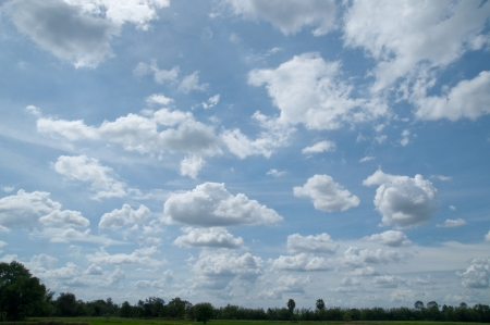 Blue sky and Streaked White clouds Stock Photo