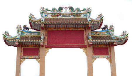 Traditional Chinese door fa&ccedil,ade in shrine Stock Photo
