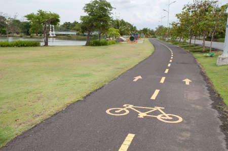 bicycle way in exercise park Stock Photo