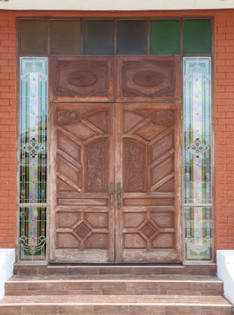 wooden door on Colorful  glass frame